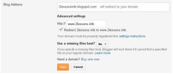 2lessons domain name setup